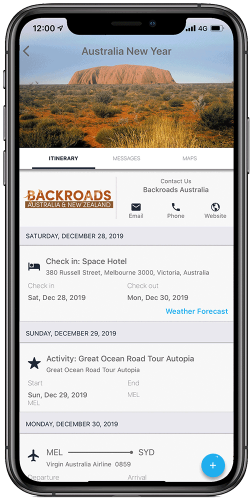 Clicking into your trip, your full itinerary will display showing all the components that you have booked.
